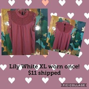 Dusty rose sleeveless blouse